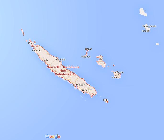 Carte de Nouvelle-Calédonie, Source : Google Maps